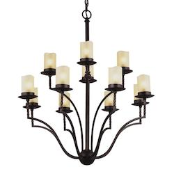 Sea Gull Trempealeau Twelve Light Chandelier In Roman Bronze With Champagne Seeded Glass
