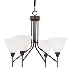Sea Gull Ashburne Four Light Chandelier In Burnt Sienna With Satin Etched Glass
