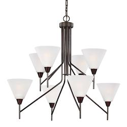 Sea Gull Ashburne Eight Light Chandelier In Burnt Sienna With Satin Etched Glass