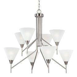 Sea Gull Ashburne Eight Light Chandelier In Brushed Nickel With Satin Etched Glass