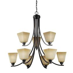 Sea Gull Parkfield Nine Light Chandelier In Flemish Bronze With Creme Parchement Glass