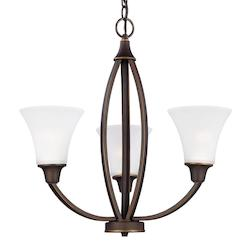 Sea Gull Metcalf Three Light Chandelier In Autumn Bronze With Satin Etched Glass