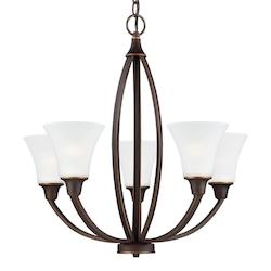 Sea Gull Metcalf Five Light Chandelier In Autumn Bronze With Satin Etched Glass