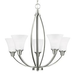 Sea Gull Metcalf Five Light Chandelier In Brushed Nickel With Satin Etched Glass