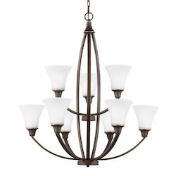 Sea Gull Metcalf Nine Light Chandelier In Autumn Bronze With Satin Etched Glass