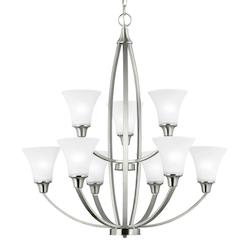 Sea Gull Metcalf Nine Light Chandelier In Brushed Nickel With Satin Etched Glass