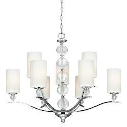 Sea Gull Englehorn Nine Light Chandelier In Chrome With Etched Glass Painted White Inside