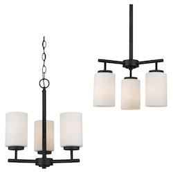 Sea Gull Three Light Chandelier In Blacksmith Finish With Satin Etched Glass