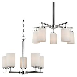 Sea Gull Five Light Chandelier In Chrome Finish With Etched Opal White Glass