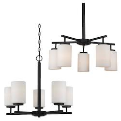 Sea Gull Five Light Chandelier In Blacksmith Finish With Satin Etched Glass