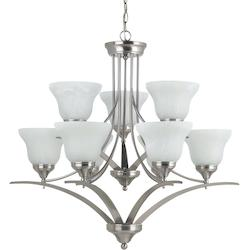 Sea Gull Brockton Nine Light Chandelier In Brushed Nickel With White Alabaster Glass