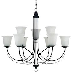 Sea Gull Plymouth Nine Light Chandelier In Blacksmith With Sand Blasted Alabaster Glass