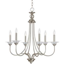 Sea Gull Lemont Six Light Candelabra Chandelier In Antique Brushed Nickel With Clear Glas