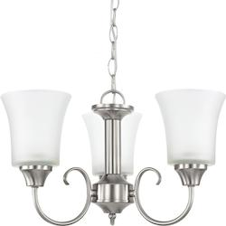 Sea Gull Fluorescent Holman Three Light Chandelier In Brushed Nickel With Satin Etched Gl