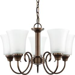 Sea Gull Fluorescent Holman Five Light Chandelier In Bell Metal Bronze With Satin Etched