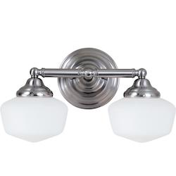 Sea Gull Academy Two Light Wall/Bath In Brushed Nickel With Satin White Schoolhouse Glass