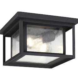 Sea Gull Hunnington Two Light Outdoor Flush Mount In Black With Clear Seeded Glass