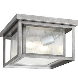 Sea Gull Hunnington Two Light Outdoor Flush Mount In Weathered Pewter With Clear Seeded G