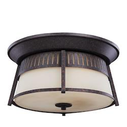 Sea Gull Hamilton Heights Three Light Outdoor Ceiling Flush Mount In Oxford Bronze With S