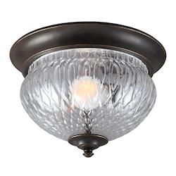 Sea Gull Garfield Park One Light Outdoor Ceiling Flush Mount In Burled Iron With Clear Gl