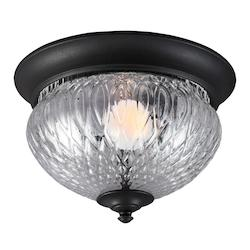 Sea Gull Fluorescent Garfield Park One Light Outdoor Ceiling Flush Mount In Black With Cl