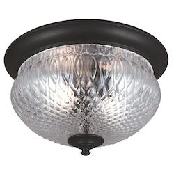 Sea Gull Garfield Park Two Light Outdoor Ceiling Flush Mount In Black With Clear Glass