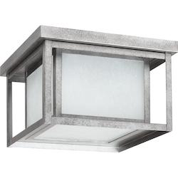 Sea Gull Fluorescent Hunnington Two Light Outdoor Flush Mount In Weathered Pewter With Se