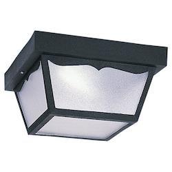 Sea Gull Fluorescent Outdoor Close To Ceiling Two Light Black Finish