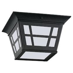Sea Gull One Light Fluorescent Outdoor Ceiling In Black Finish