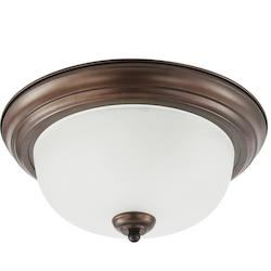 Sea Gull Fluorescent Holman Three Light Flush Mount In Bell Metal Bronze With Satin Etche
