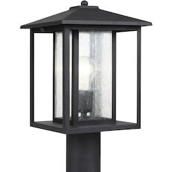 Sea Gull Hunnington One Light Outdoor Post Lantern In Black With Clear Seeded Glass