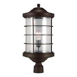 Sea Gull Sauganash One Light Outdoor Post Lantern In Antique Bronze With Clear Seeded Gla