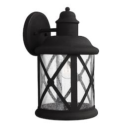 Sea Gull Open Box Lakeview One Light Large Outdoor Wall Lantern In Black With Clear Seeded Glass