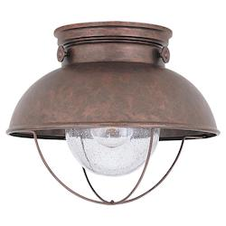 Sea Gull Led Sebring Outdoor Ceiing Flush Mount In Weathered Copper Finish With Clear See