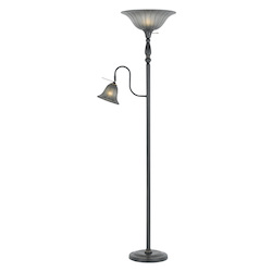 CAL Lighting Dark Bronze 2 Light Pedestal Base Torchier Floor Lamp