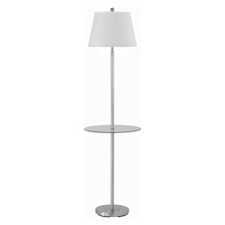 CAL Lighting Brushed Steel Andros 1 Light Pedestal Base Floor Lamp