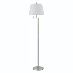 CAL Lighting Brushed Steel Andros 1 Light Pedestal Base Swing Arm Floor Lamp