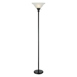 CAL Lighting Black 1 Light Pedestal Base Torchier Floor Lamp
