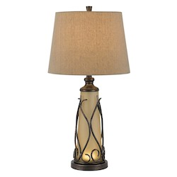 CAL Lighting Dark Bronze Taylor 1 Light Pedestal Base Table Lamp