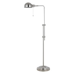 CAL Lighting Brushed Steel 60W Croby Pharmacy Floor Lamp With Adjustable Pole
