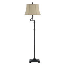 CAL Lighting Oil Bronze 150W 3 Way Madison Swing Arm Metal Floor Lamp With Burlap Shade