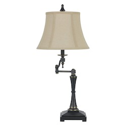 CAL Lighting Oil Bronze 150W 3 Way Madison Swing Arm Table Lamp With Burlap Shade