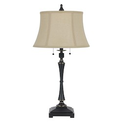 CAL Lighting Oil Bronze 60W X 2 Madison Table Lamp With Burlap Shade And Pull Chain Switch