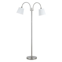 CAL Lighting Brushed Steel 40W X 2 Gail Metal Floor Lamp With Goose Neck
