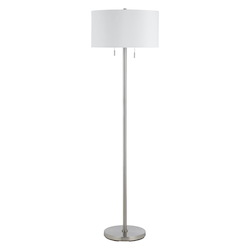 CAL Lighting Brushed Steel 60W X 2 Calais Metal Floor Lamp