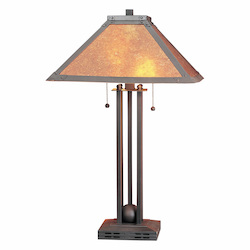 CAL Lighting 60W X 2 Table Lamp W/Mica Shade
