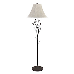 CAL Lighting Matt Black 150W Three Way Hand Forged Iron Floor Lamp