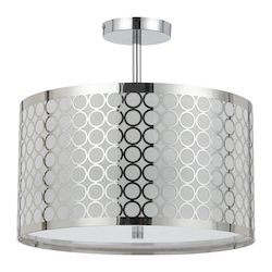 CAL Lighting Chrome Madrid 3 Light Semi-Flush Mount Ceiling Fixture