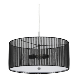 CAL Lighting Black Nianda 2 Light Pendant with Striped Shade