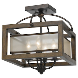 CAL Lighting Wood Mission 4 Light Flush Mount Ceiling Fixture with Organza Shade